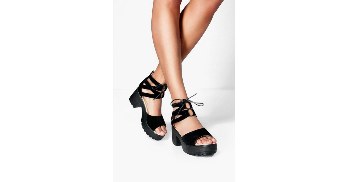 de42add2408 Boohoo Amy Lace Up Two Part Cleated Sandal in Black - Lyst