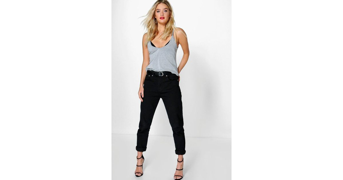 boohoo hatty high waisted black boyfriend jeans in black. Black Bedroom Furniture Sets. Home Design Ideas