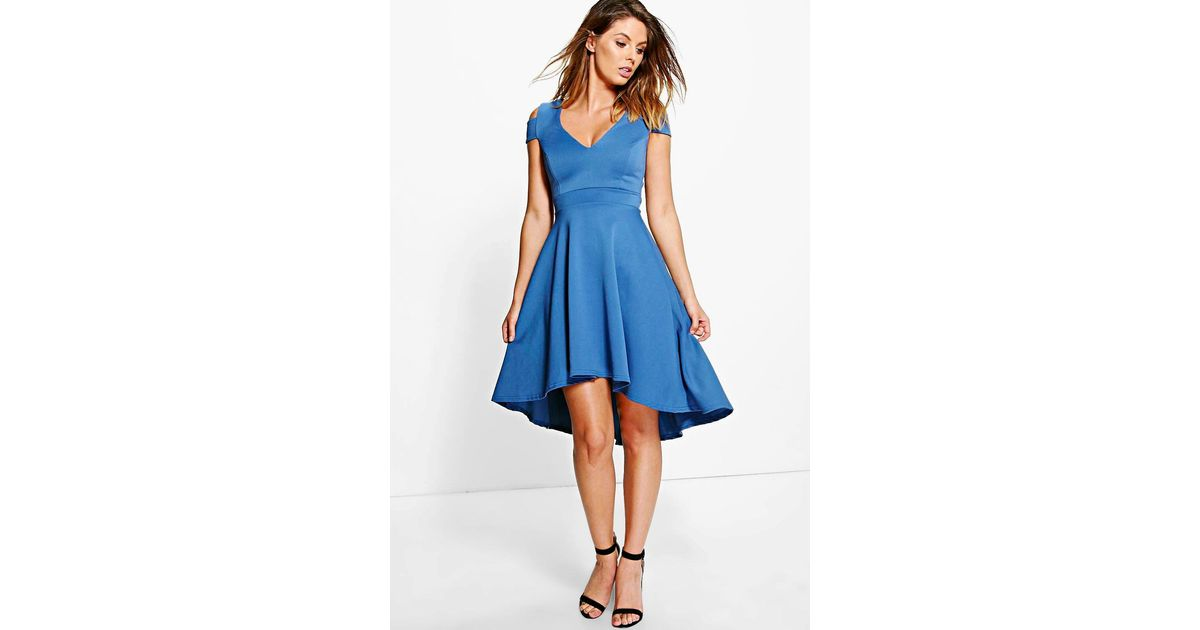 Lyst - Boohoo Clea Bardot Plunge High Low Skater Dress in Blue 2bfad2c34