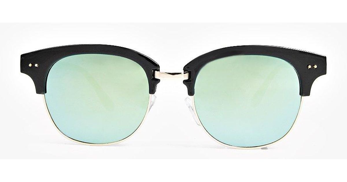 Wayfarer Glasses Half Frame : Boohoo Eva Mirrored Half Frame Wayfarer Sunglasses in ...