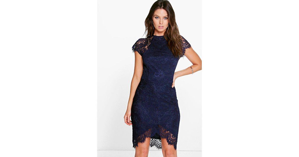 e7b07410b6b1 Lyst - Boohoo Boutique Leah Eyelash Lace Curved Hem Bodycon Dress in Blue