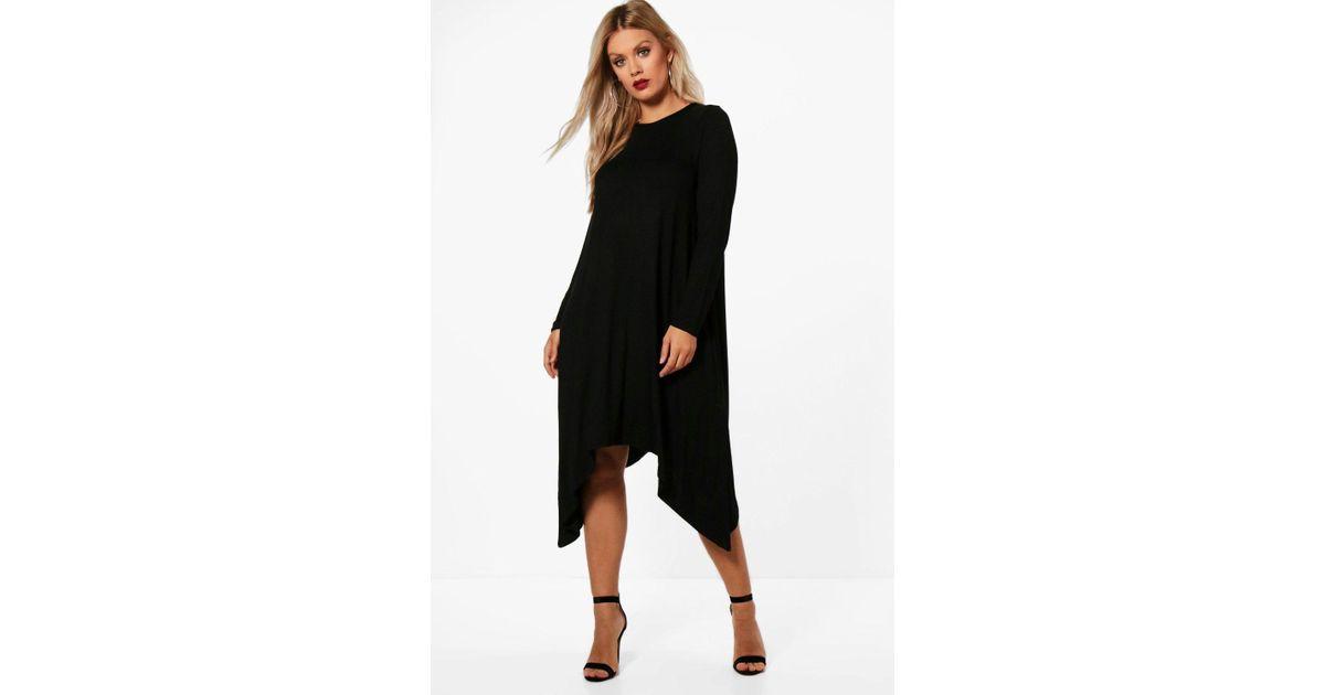 17a48fc030a6b Lyst - Boohoo Plus Long Sleeve Hanky Hem Swing Dress in Black