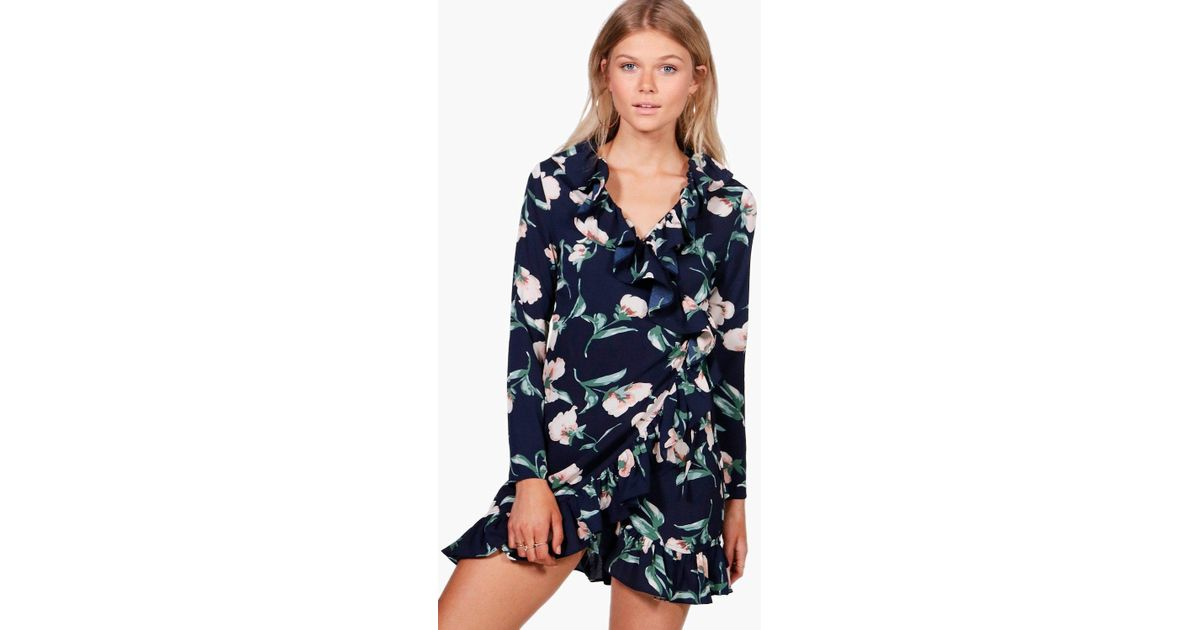 high quality materials on sale online outlet sale Boohoo Floral Print Ruffle Tea Dress in Navy (Blue) - Lyst