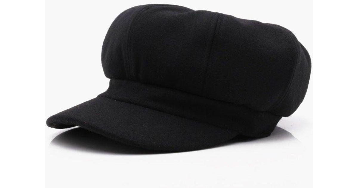 8acb12577fd Lyst - Boohoo Brushed Baker Boy Hat in Black for Men