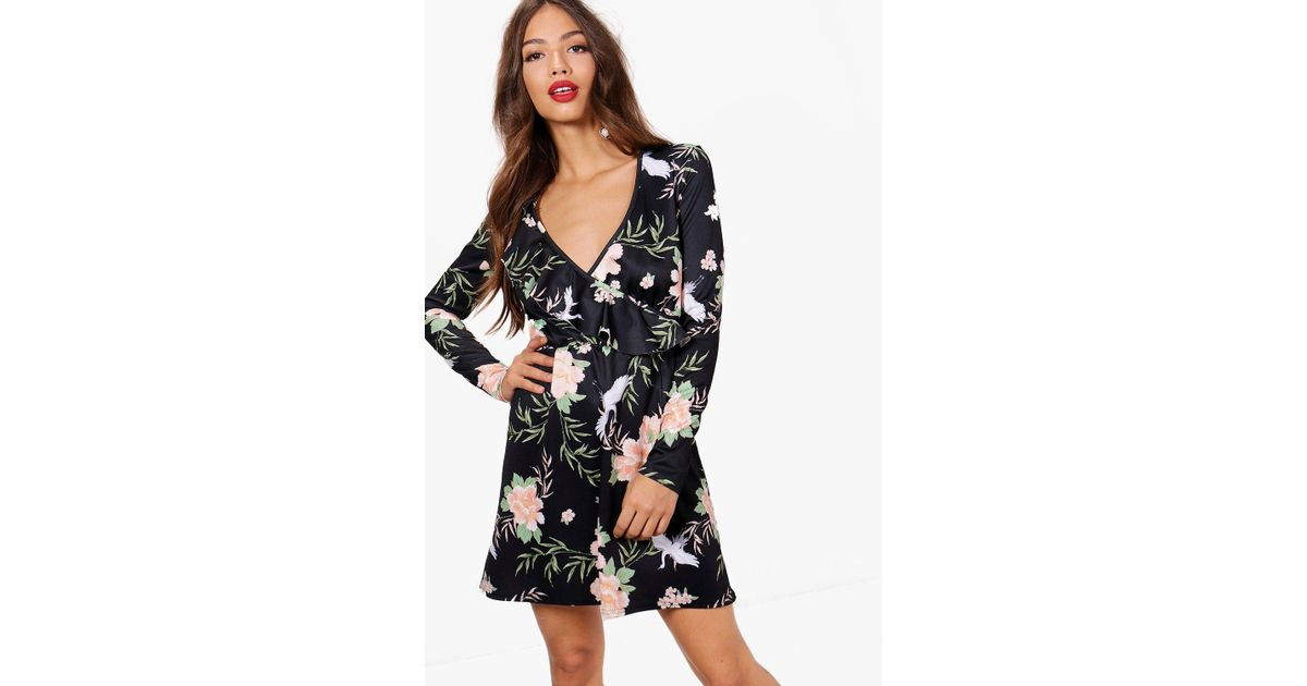 e1e38182f3ba Lyst - Boohoo Oriental Print Frill Skater Dress in Black