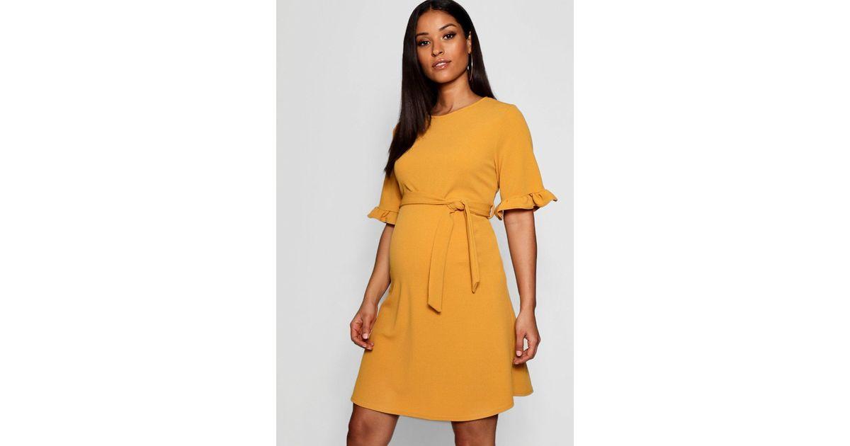 796b88e8440 Boohoo Maternity Ruffle Tie Waist Smock Dress in Yellow - Lyst