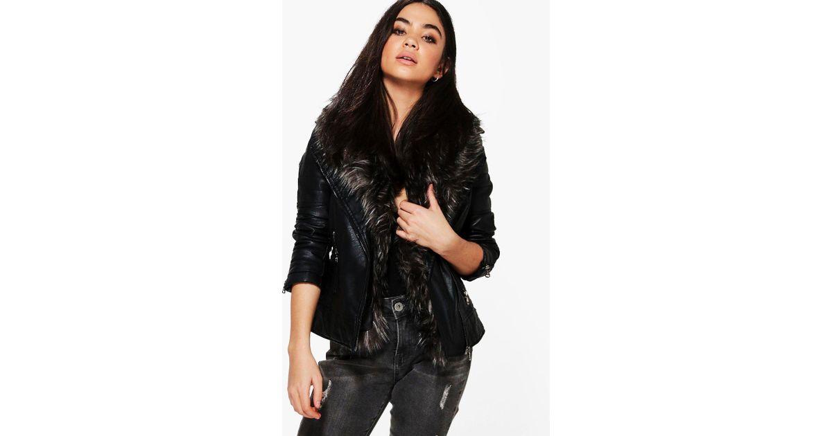 fd2a5f5da Boohoo Gray Freya Faux Fur Collar Biker Jacket