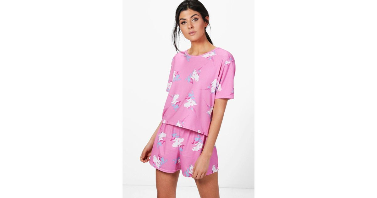 76d42fcd7bfd Boohoo Tilly Unicorn Short   Tee Pj Set in Pink - Lyst