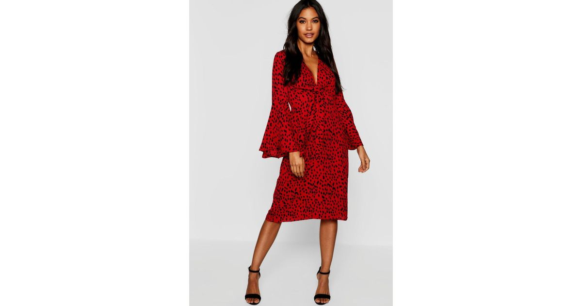 deac833e74d5 Boohoo Knot Front Cheetah Print Midi Dress in Red - Lyst