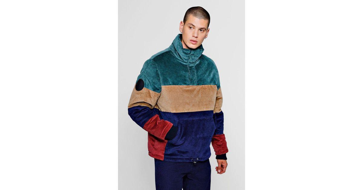 Doudoune à capuche à blocs de couleur en velours côtelé Boohoo pour homme en coloris Blue
