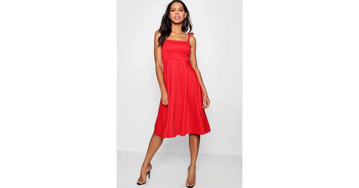 4d0acb5f708ad Boohoo Boutique Tie Shoulder Midi Skater Dress in Red - Lyst