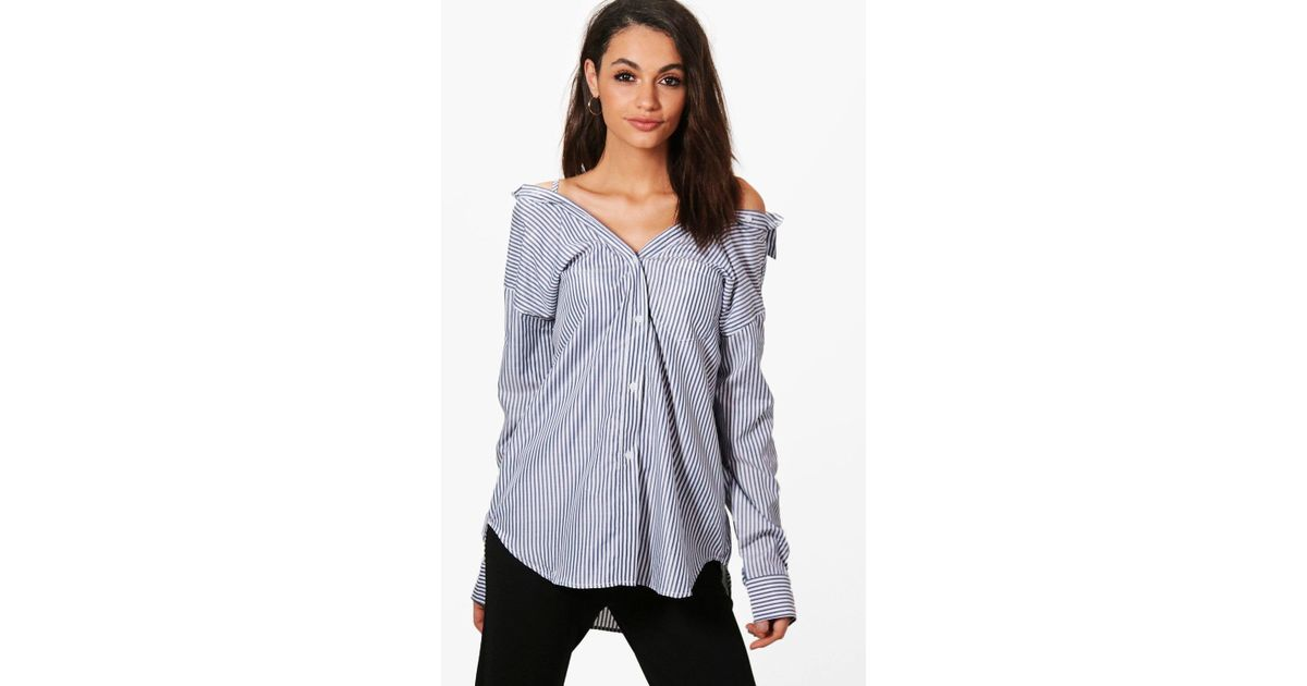 08fbe3dd83f946 Lyst - Boohoo Jasmine Off The Shoulder Stripe Tailored Shirt in Gray