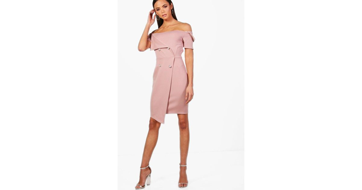 e2d68165ce2a Lyst - Boohoo Tall Off The Shoulder Blazer Dress in Pink
