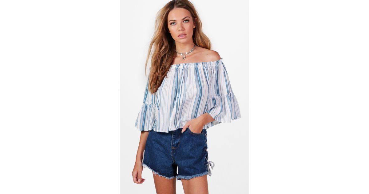 f8fef32197d0 Boohoo Enya Off The Shoulder Stripe Shirt in Blue - Lyst