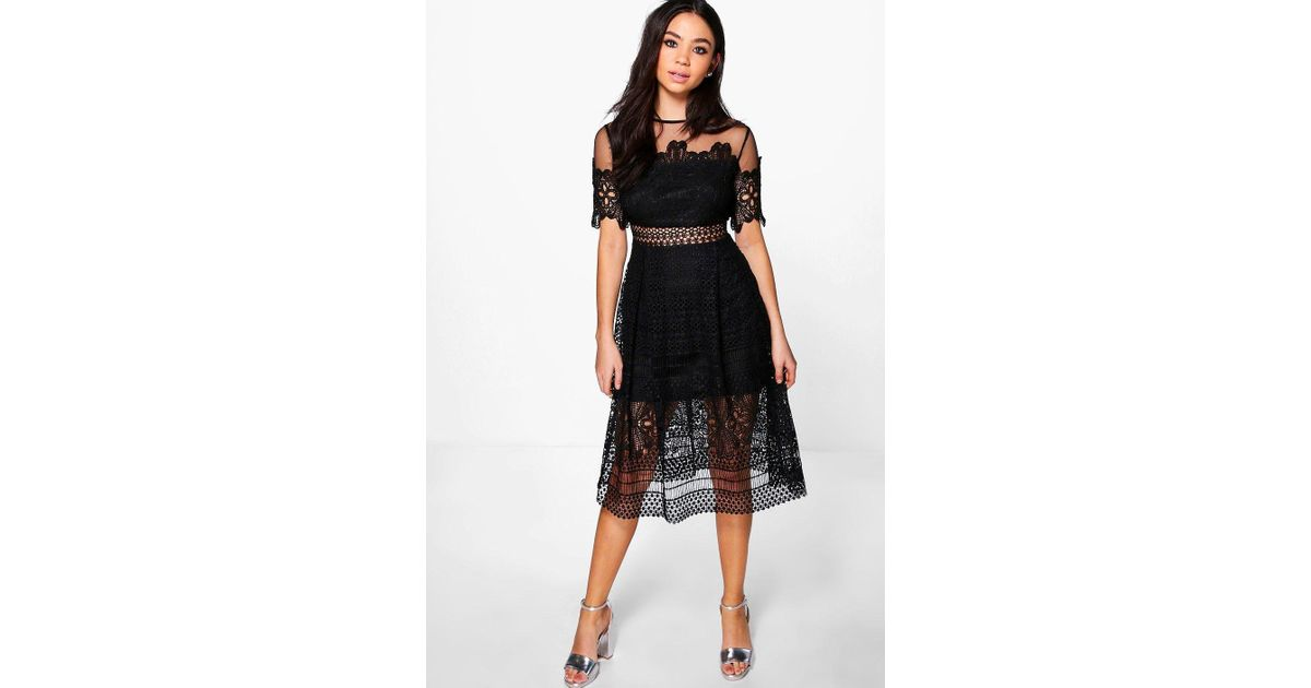 7be3ef80c0 Lyst - Boohoo Boutique Cary Lace Mesh Midi Skater Dress in Black