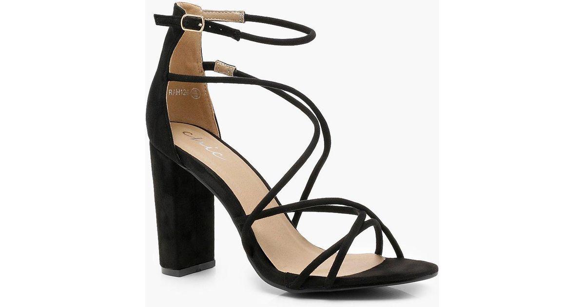 Boohoo Suede Strappy Block Heel Sandals