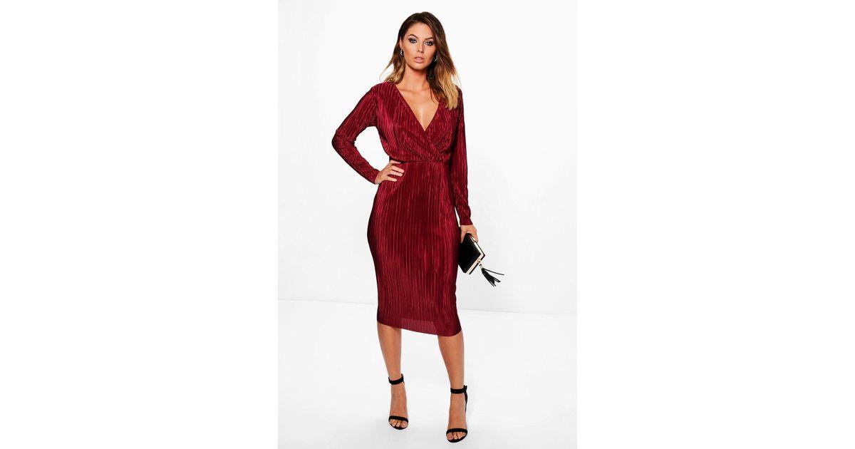 432bcbd8fdb Lyst - Boohoo Millicent Wrap Top Pleated Midi Dress in Red