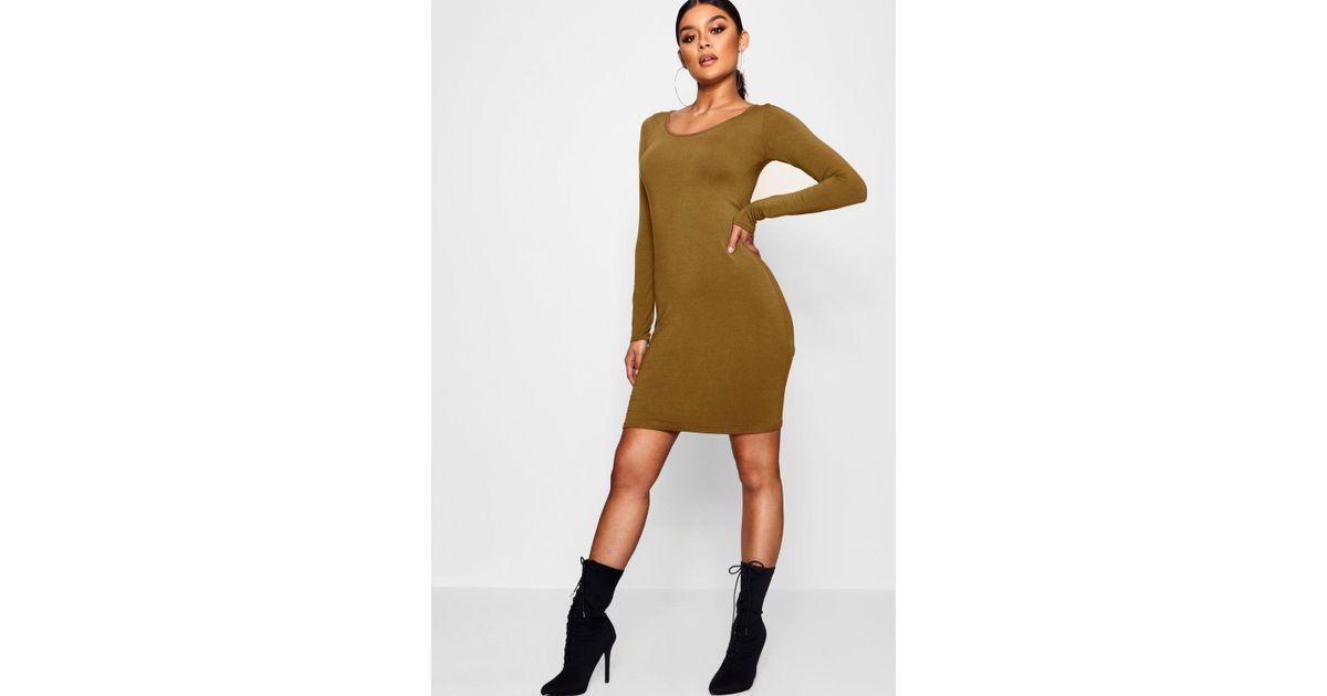 1d1c1f18908e9 Lyst - Boohoo Long Sleeve Scoop Neck Bodycon Dress in Green