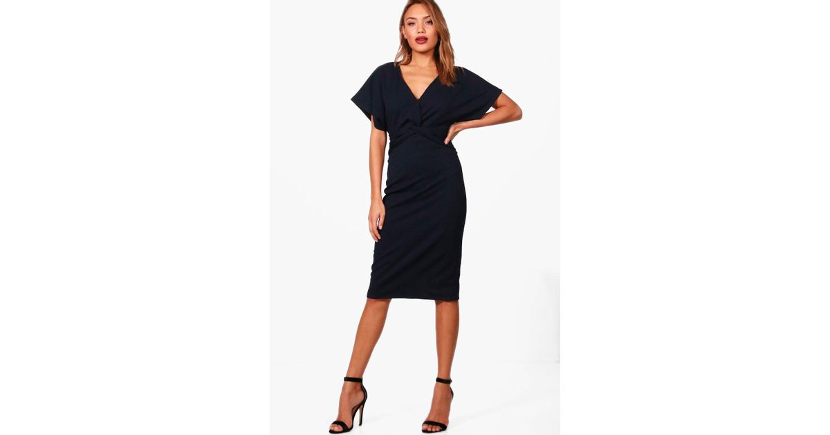 79943934b3dbf Boohoo Emma Wrap Over Tailored Midi Dress in Blue - Lyst