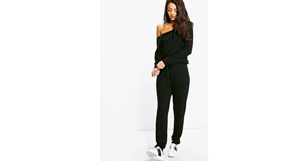 5a4c24406061 Boohoo Tall Slash Neck Lounge Jumpsuit in Black - Lyst