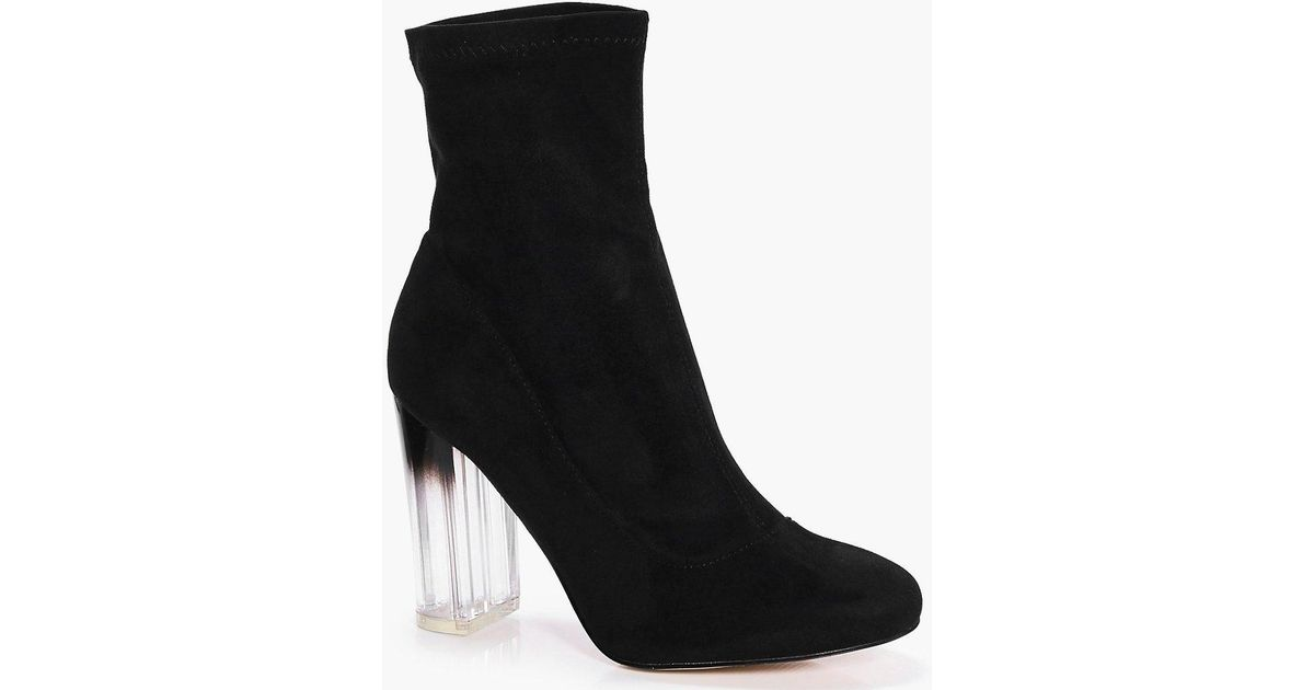 Boohoo Wide Fit Clear Heel Sock Boots