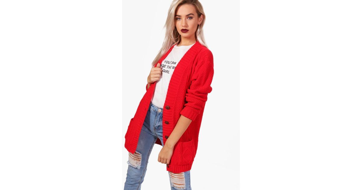 Lyst - Boohoo Cable Boyfriend Button Up Cardigan in Red 42892c21d