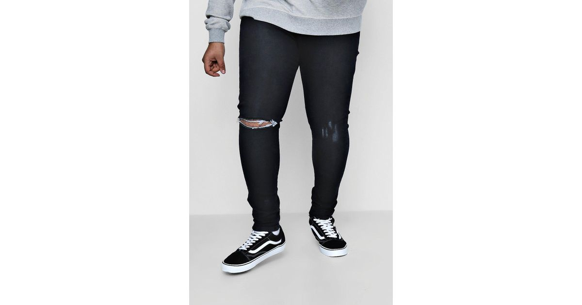 0e59aa7815af Lyst - Boohoo Big And Tall Rip And Repair Skinny Jeans in Black for Men