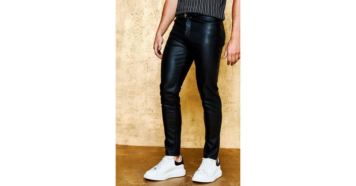 c458d12d647f Lyst - Boohoo Skinny Fit Pu Trouser in Black for Men