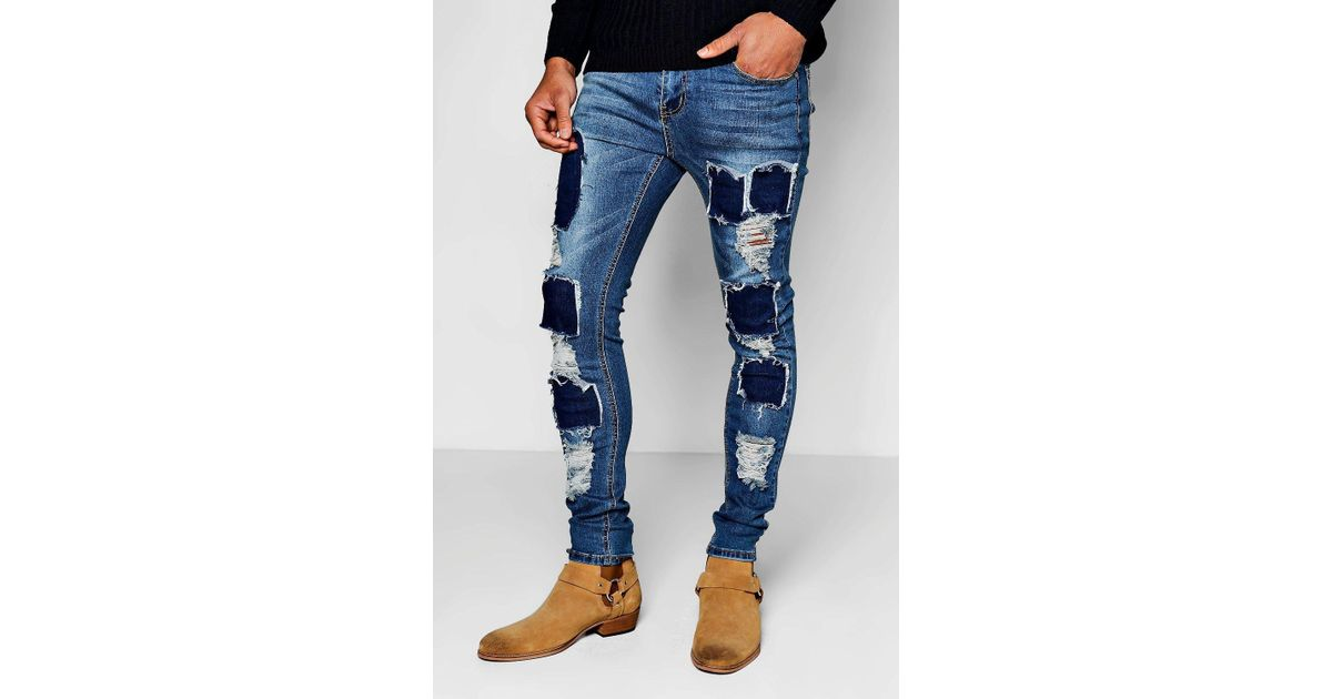 60d1328931aa Boohoo Mid Blue Skinny Fit Ripped Patch Work Jeans in Blue for Men - Lyst