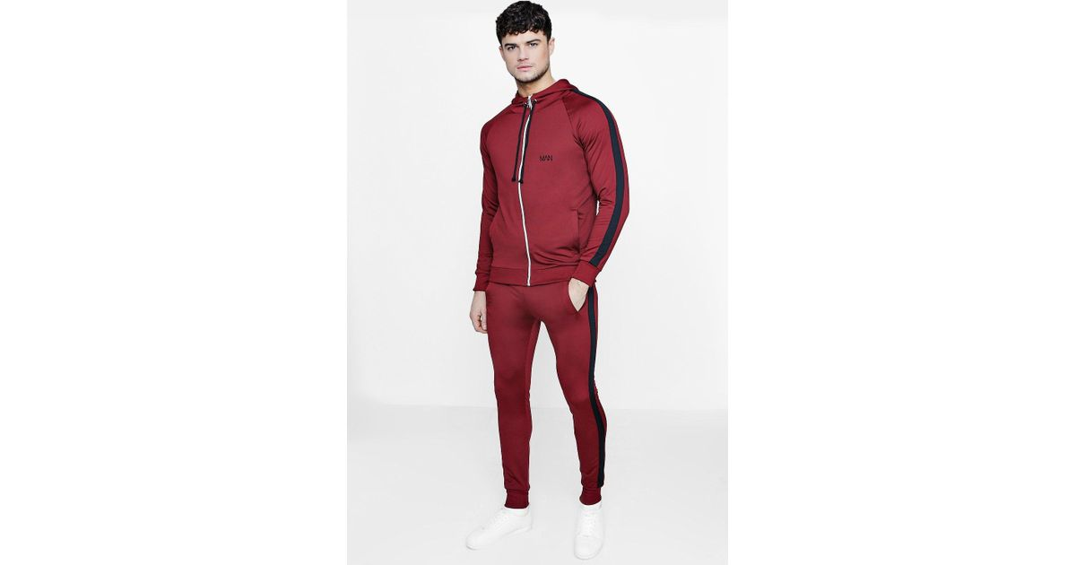 9fc8b5cf3d15 Lyst - Boohoo Skinny Fit Man Tracksuit With Side Panels in Red for Men
