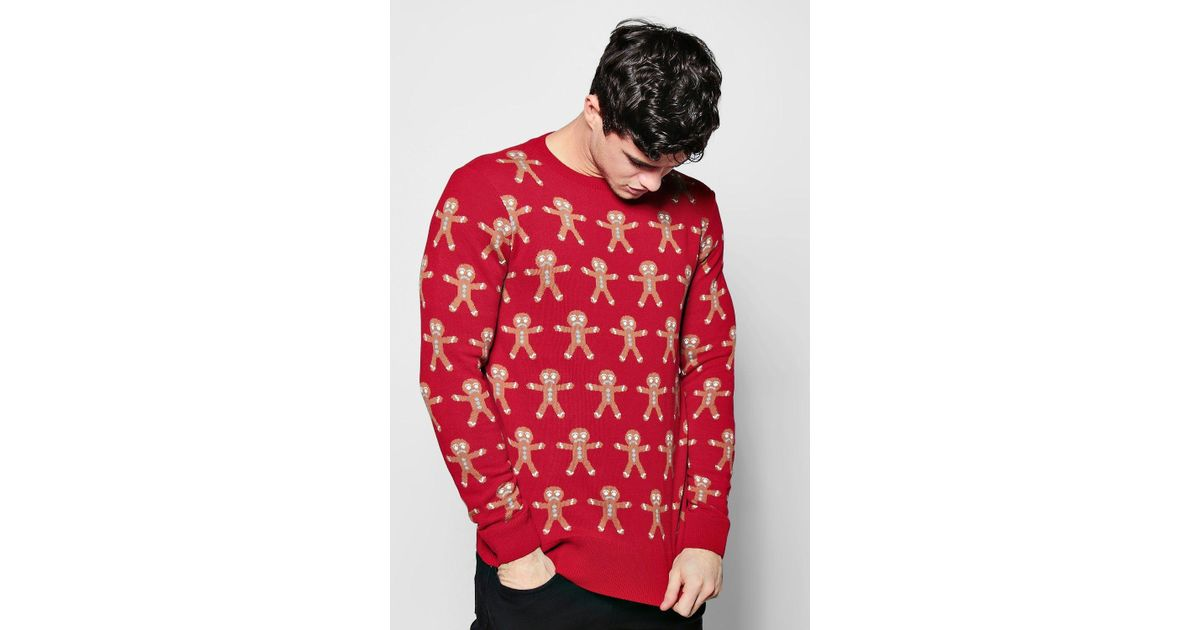 c3782c34f8cb0 Boohoo Gingerbread Man Jacquard X-mas Jumper in Red for Men - Lyst