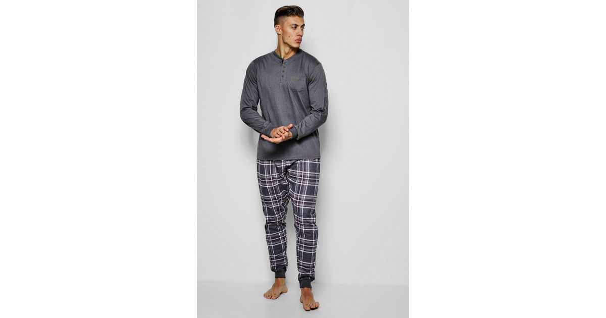 827e319fe Lyst - Boohoo Jersey Grandad Collar Pyjamas With Check Pants in Gray ...