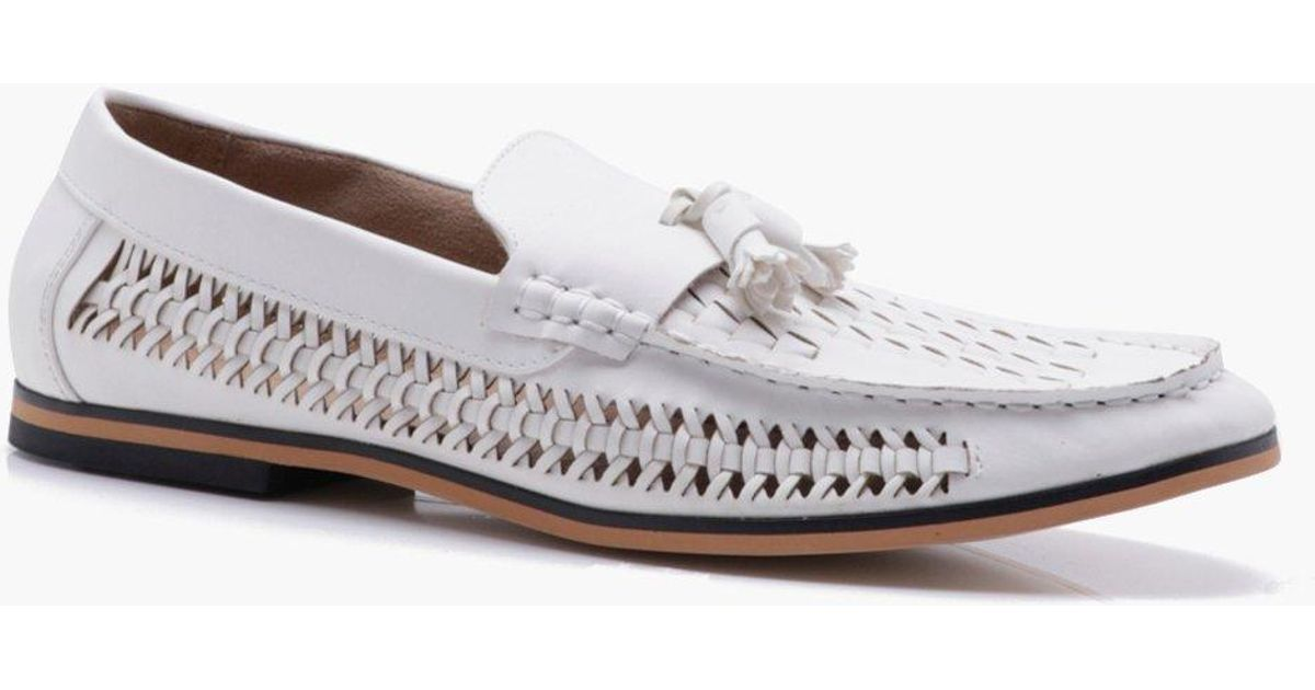 9a39170f8433b Boohoo White Tassel Front Pu Woven Loafer for men