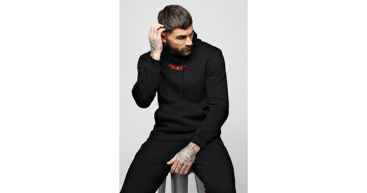 Boohooman Man Collection Back Spiced Box Hoodie in Black for Men - Lyst 5384e92fd0