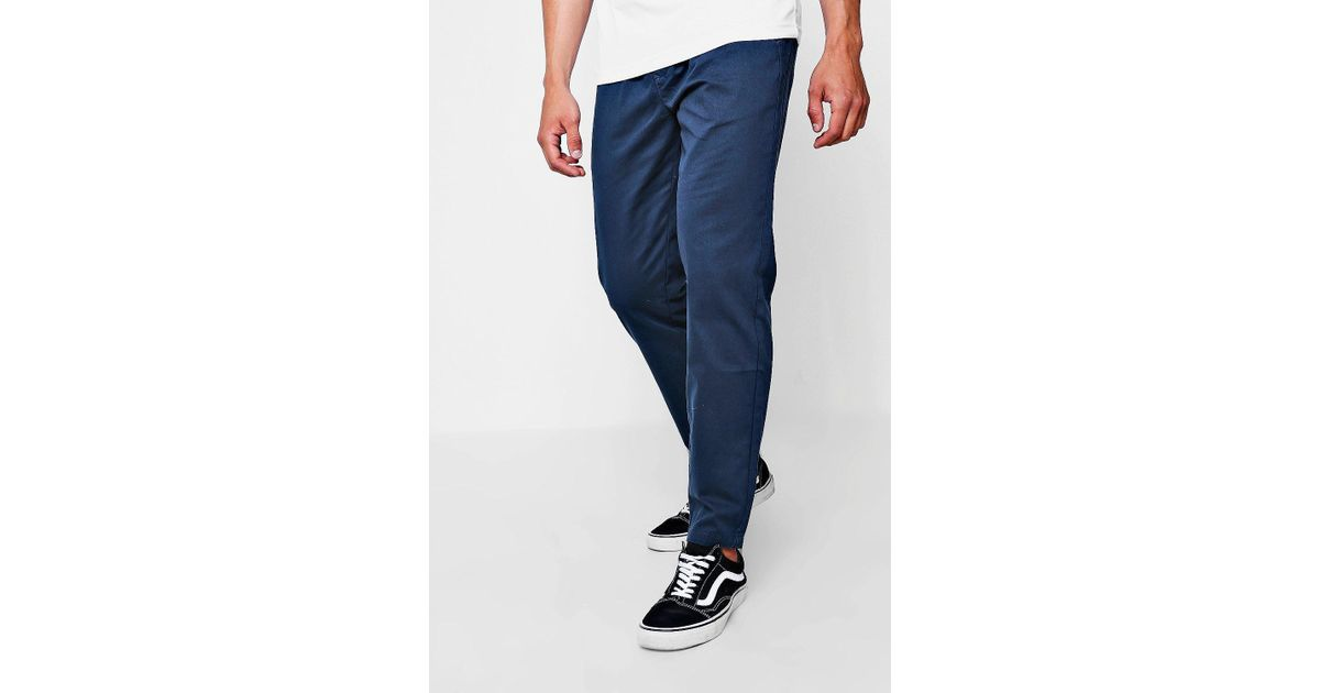 53c80492fbf1 Boohoo Navy Jogger Style Chino Trouser in Blue for Men - Lyst