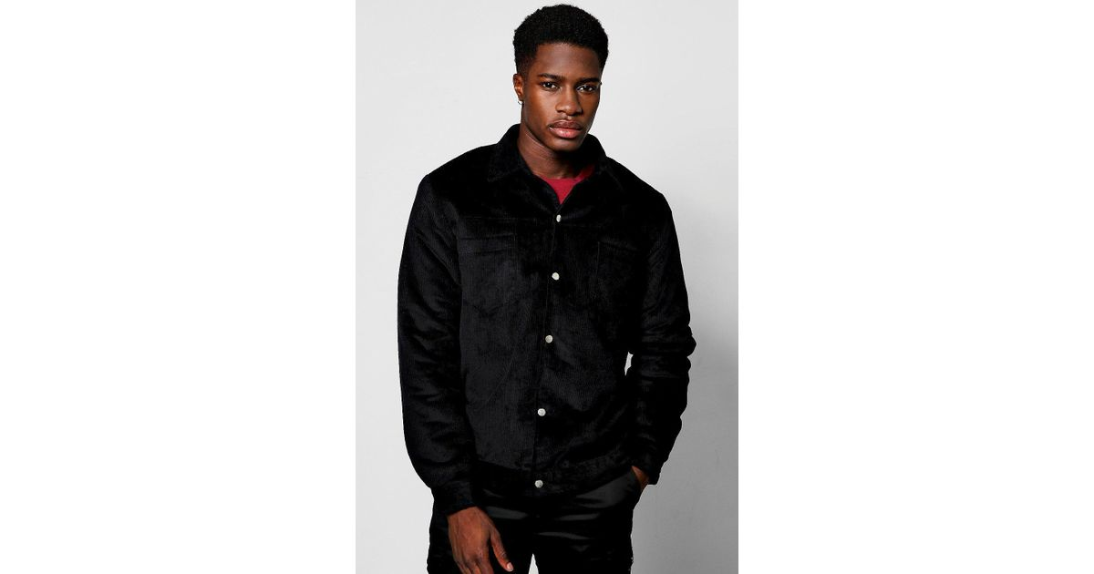 fc2d529aa Boohoo Black Cord Trucker Jacket With Borg Lining for men