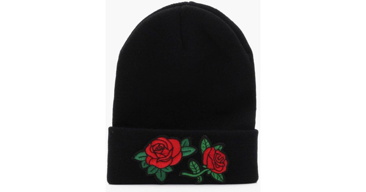 99adf1a5f Boohoo Black Rose Embroidered Beanie for men
