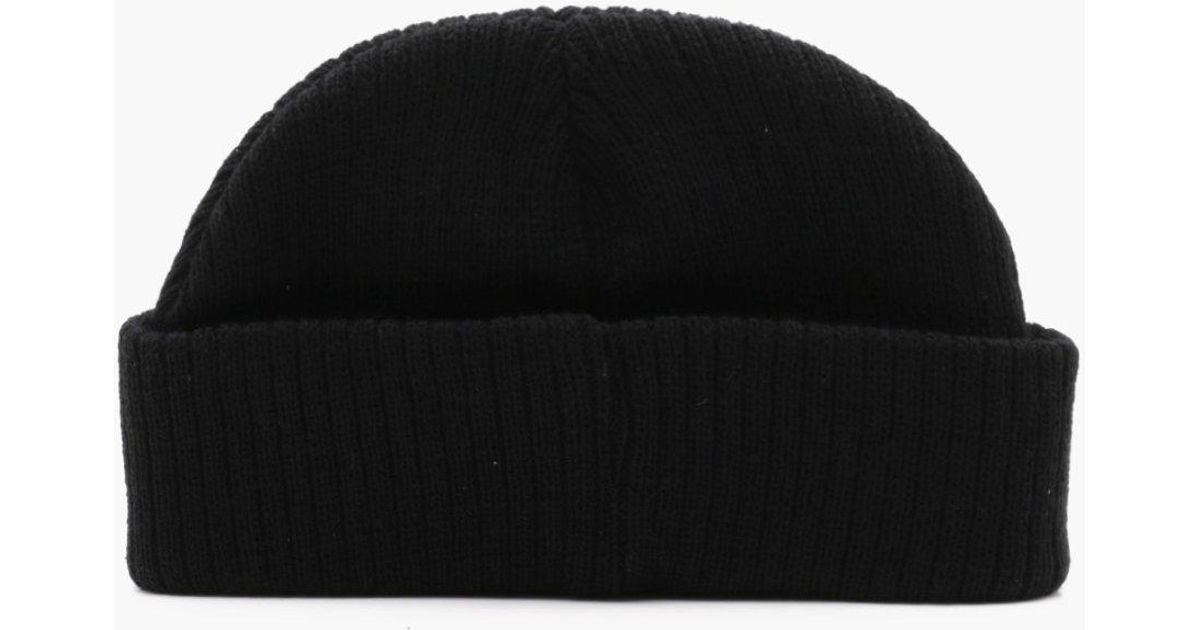Lyst - Boohoo Ribbed Knit Short Fit Beanie With Turn Up in Black for Men 406ce2df04b