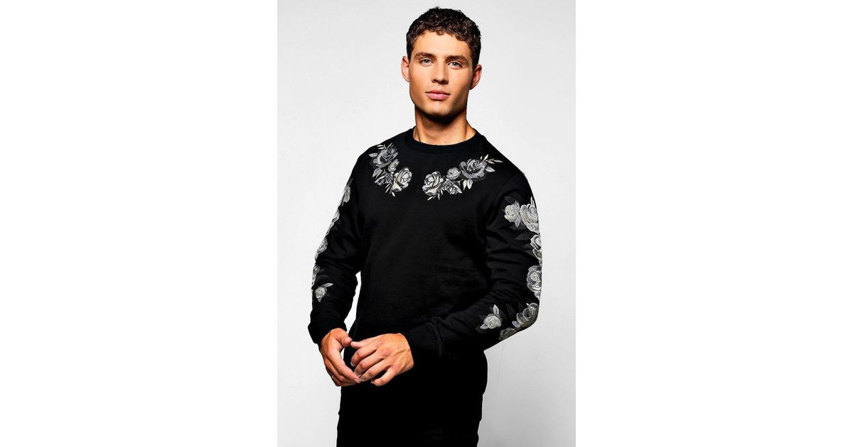 Lyst Boohoo Red Rose Embroidered Sweater In Black For Men