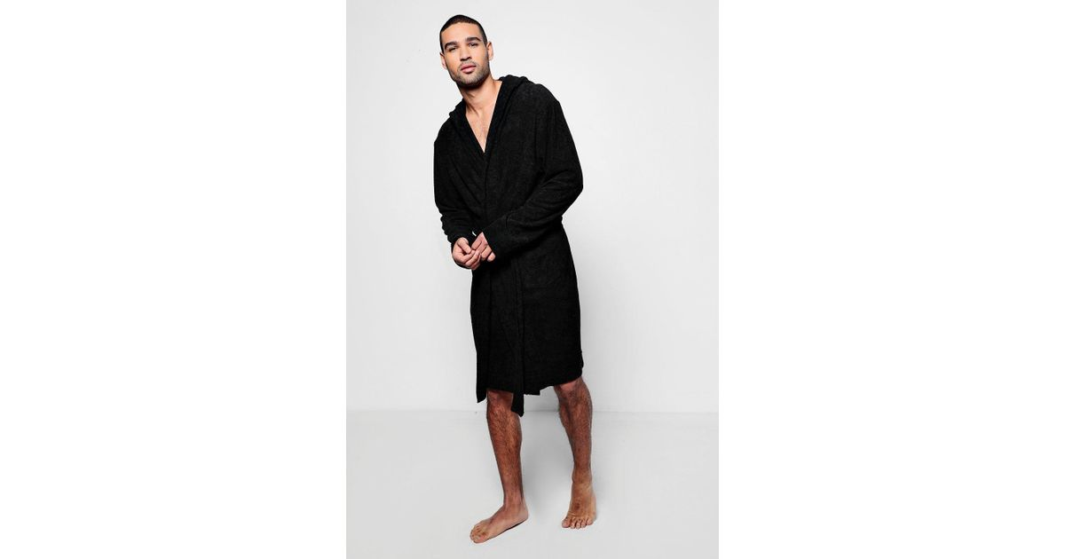 075617db3267 Boohoo Black Hooded Dressing Gown In Towelling in Black for Men - Lyst