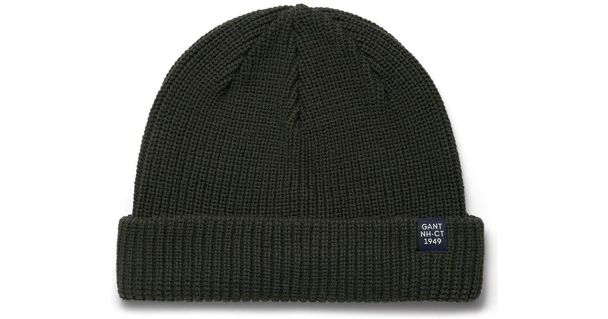 67910625422 Lyst - Gant O1.cotton Blend Rib Beanie in Black for Men