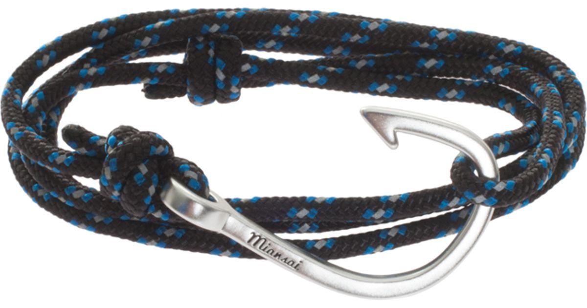 Miansai fish hook rope bracelet in blue for men lyst for Mens fishing bracelet