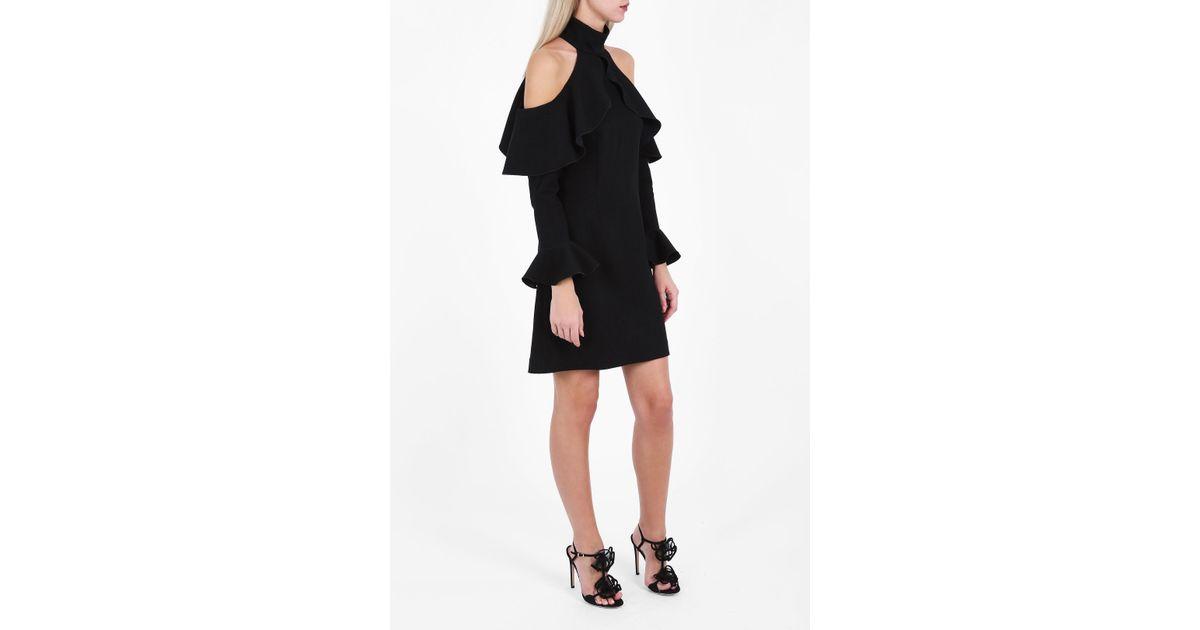 Elie Saab Synthetic Cold-shoulder High-neck Dress In Black
