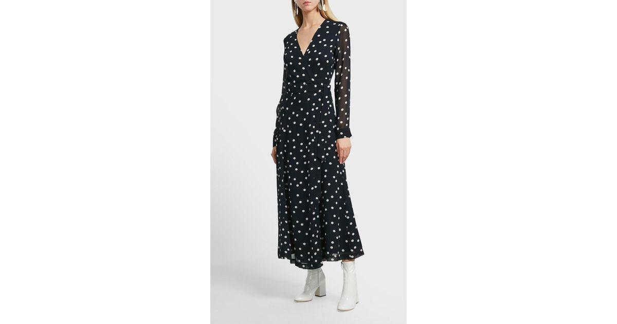 1422ed69617c Ganni Marceau Printed Wrap Dress in Black - Lyst