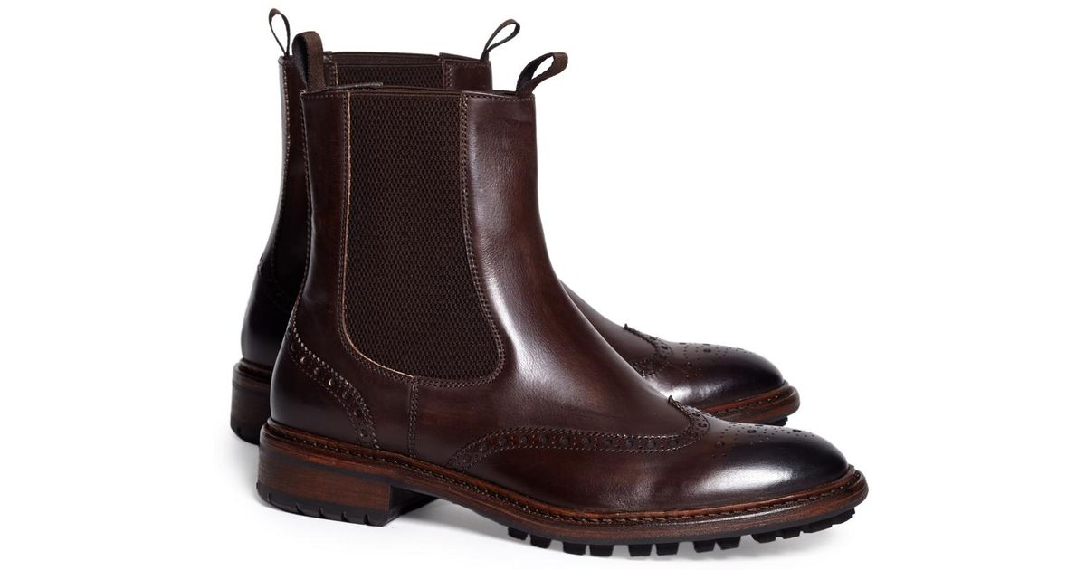 a764057cc1a Lyst - Brooks Brothers Wingtip Lug Sole Chelsea Boot in Brown for Men