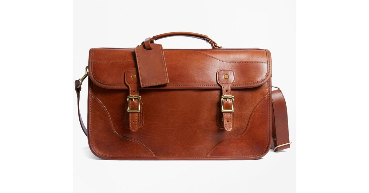 Brooks Brothers Brown J W Hulme Leather Doent Briefcase For Men