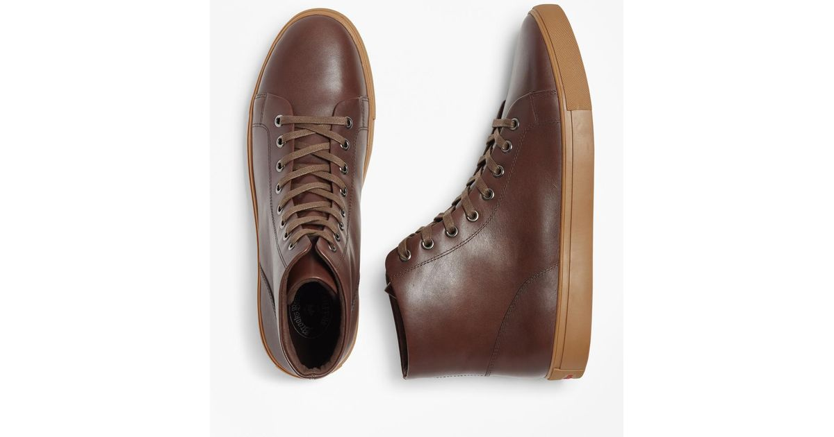 super quality wholesale sales release date: Brooks Brothers Brown Leather High-top Sneakers for men