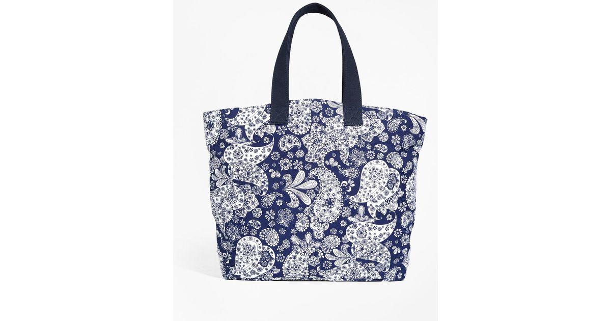 3d5dcf44c0e Brooks Brothers - Blue Paisley Canvas Tote Bag - Lyst