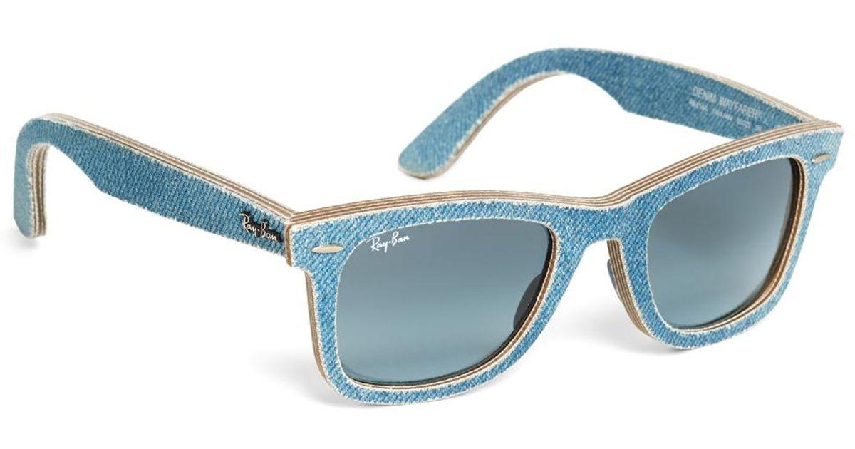 95f3b2db74 ... sale brooks brothers ray ban wayfarer light blue denim sunglasses in  blue for men lyst 7264c