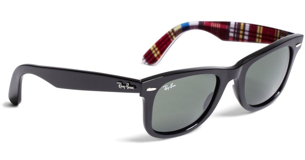 f39da61430 Brooks Brothers Ray-Ban® Wayfarer Sunglasses With Madras in Black for Men -  Lyst
